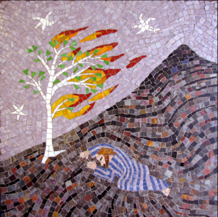 """Moses and the Burning Bush"" by  Joe Moorman . Mosaic on wood."