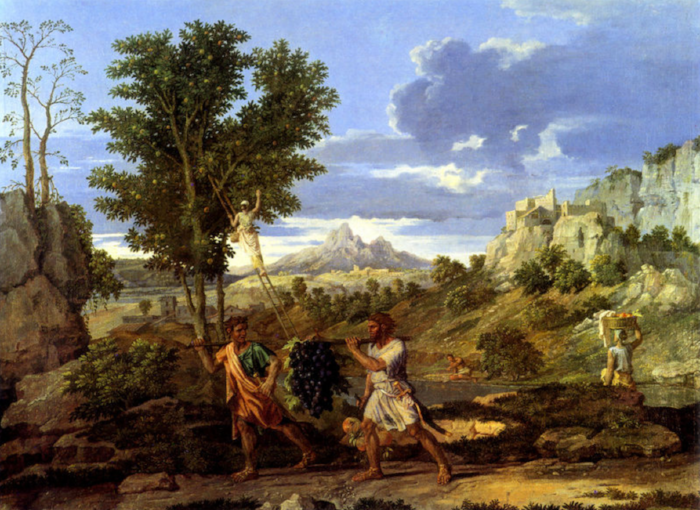 """""""The Bunch of Grapes of the Promised Land"""" by Nicolas Poussin, 1664.  via"""