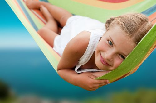 smiling girl on hammock