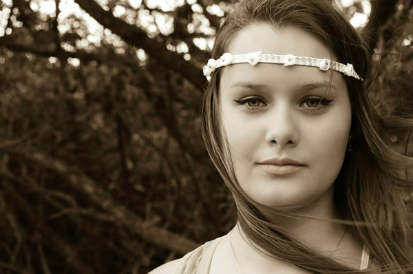 young woman with headband