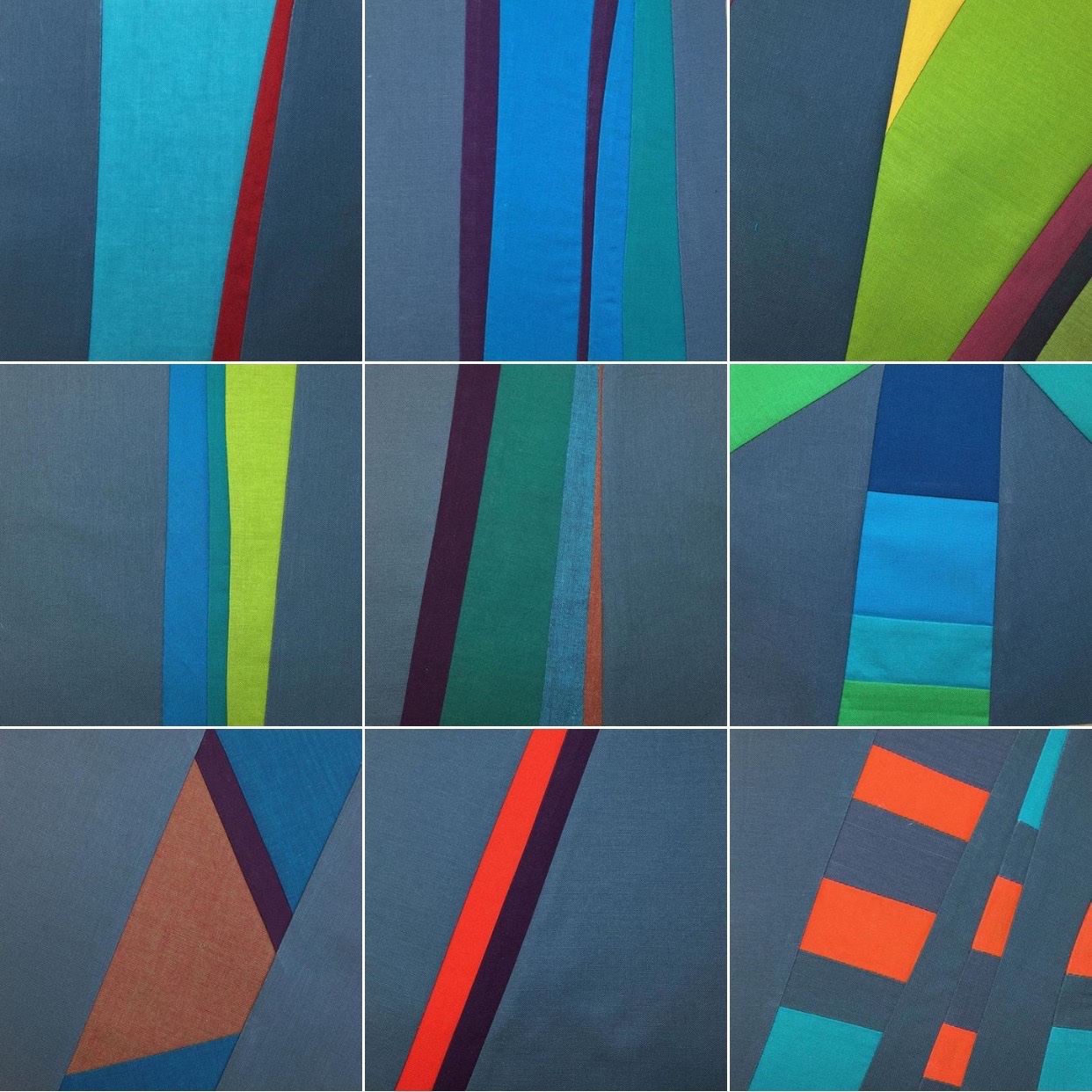 Nine squares in the  Bits and Pieces of 2015 series, 2016.  6 inches square each. Cotton fabric.
