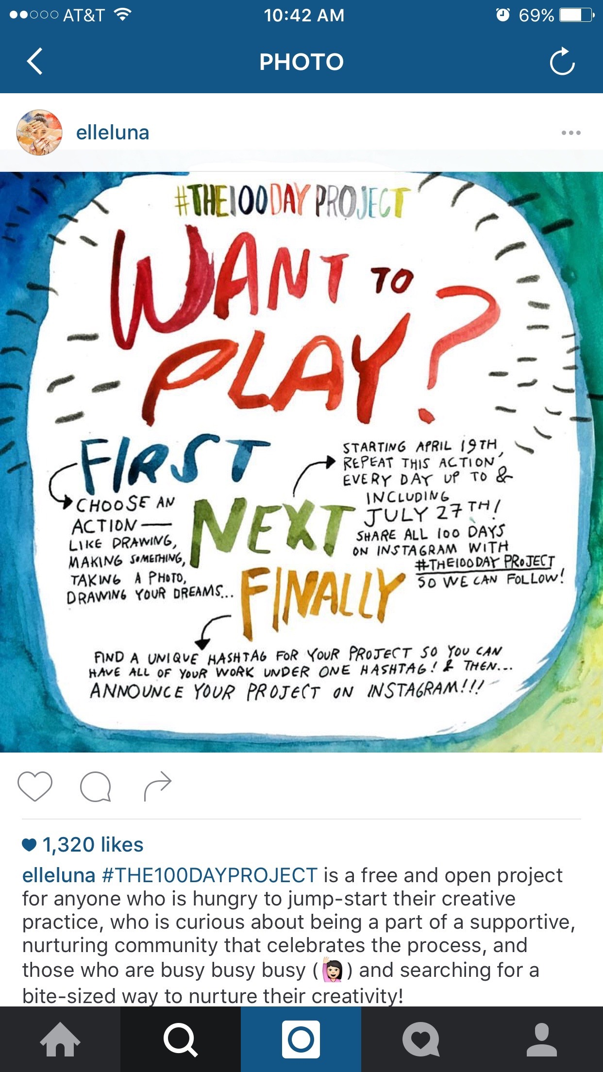 Screenshot of Elle Luna's Instagram post about the 100 Day Project for 2016.