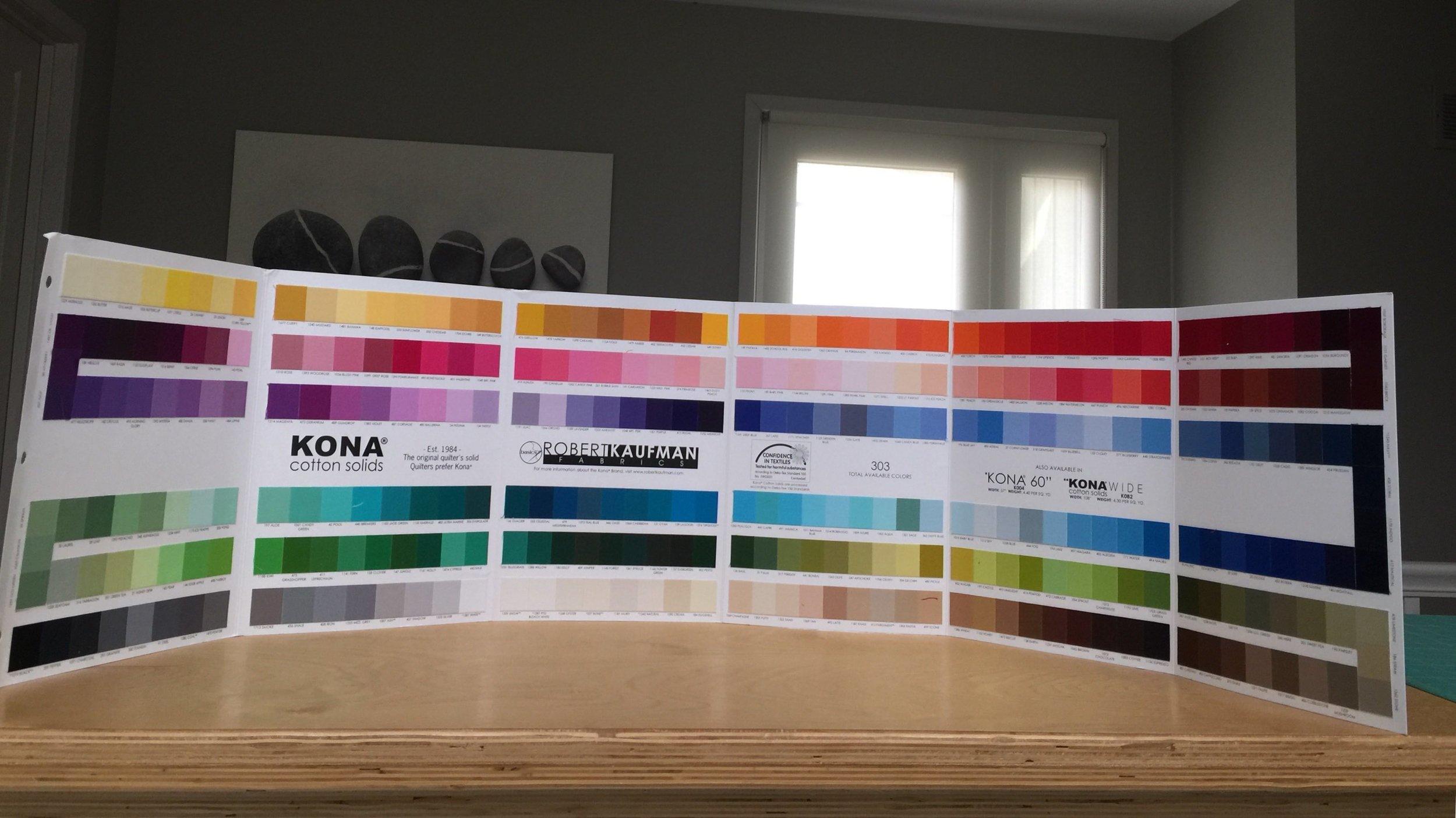 Kona cotton solids color chart