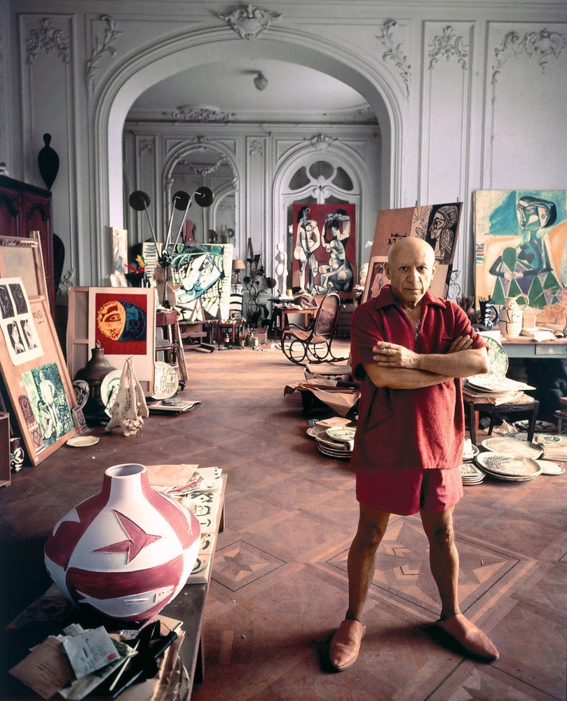 Pablo Picasso in his studio. Source:  http://www.designlovefest.com/2016/01/artists-in-their-studios/