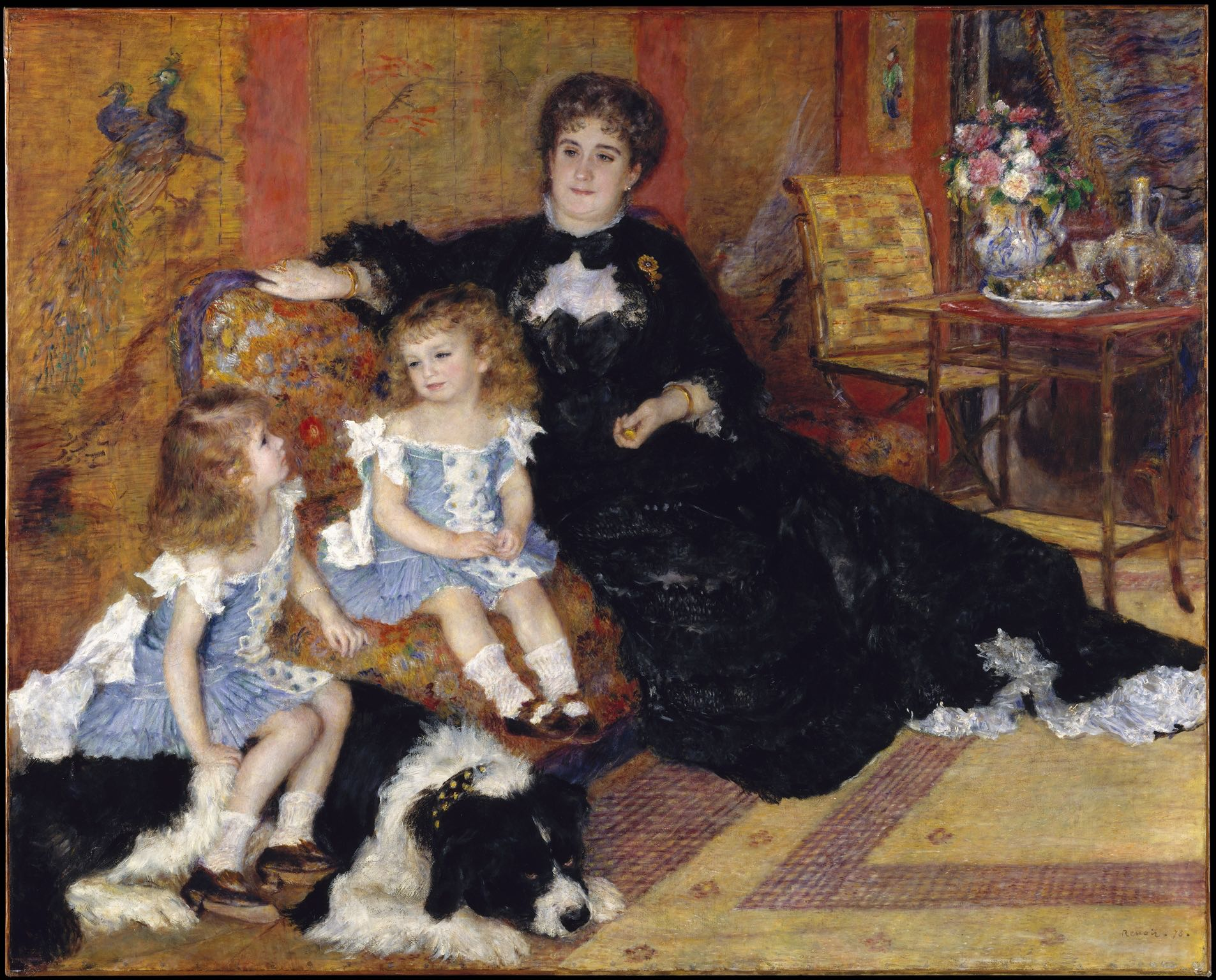 """Madame Georges Charpentier (Marguérite-Louise Lemonnier, 1848–1904) and Her Children, Georgette-Berthe (1872–1945) and Paul-Émile-Charles (1875–1895) by Auguste Renoir (French, Limoges 1841–1919 Cagnes-sur-Mer) Date:1878  The Met website says,""""In this commissioned portrait, as Marcel Proust observed, Renoir gave expression to """"the poetry of an elegant home and the beautiful dresses of our time."""" In the Japanese-style sitting room of her Parisian townhouse—the décor and chic gown testifying to her stylish taste—Marguerite Charpentier sits beside her son, Paul. At age three, his locks are still uncut and, in keeping with current fashion, he is dressed identically to his sister Georgette, perched on the family dog. The well-connected publisher's wife, who hosted elite literary salons attended by such writers as Flaubert, the Goncourts, and Zola, used her influence to ensure that the painting enjoyed a choice spot at the Salon of 1879.""""  Source:  The Met"""