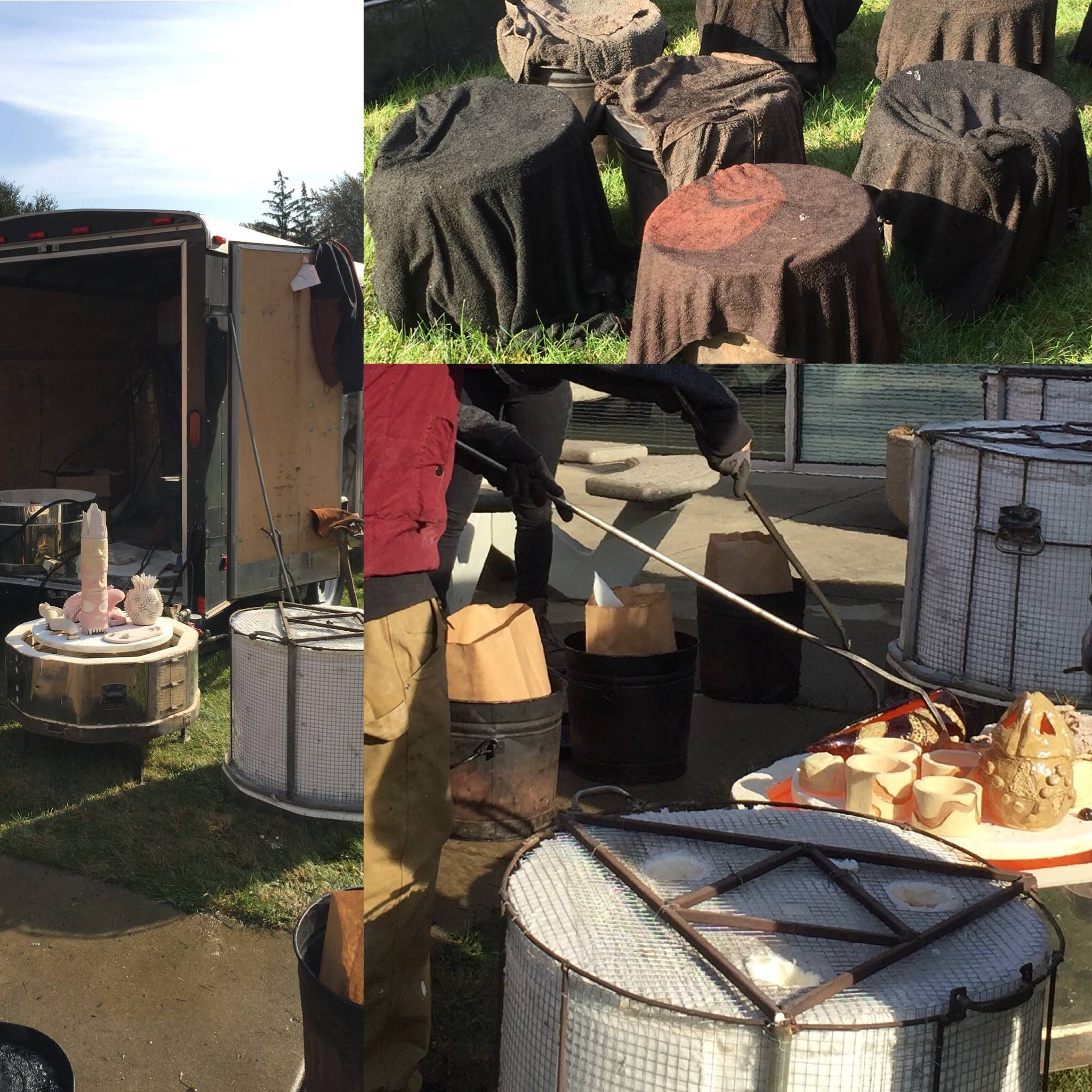 Photo collage of raku ceramics firing by  Carl Mankert of Chicago Kiln Service  at our local high school. They use clay and glazes particular for raku which allows for the crackly or metallic appearance.