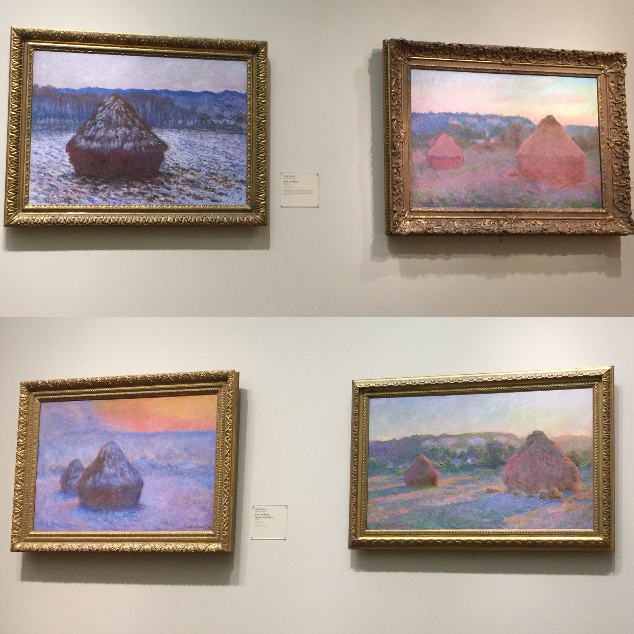 Four of Monet's Haystacks at the Art Institute of Chicago from when I visited last Fall.