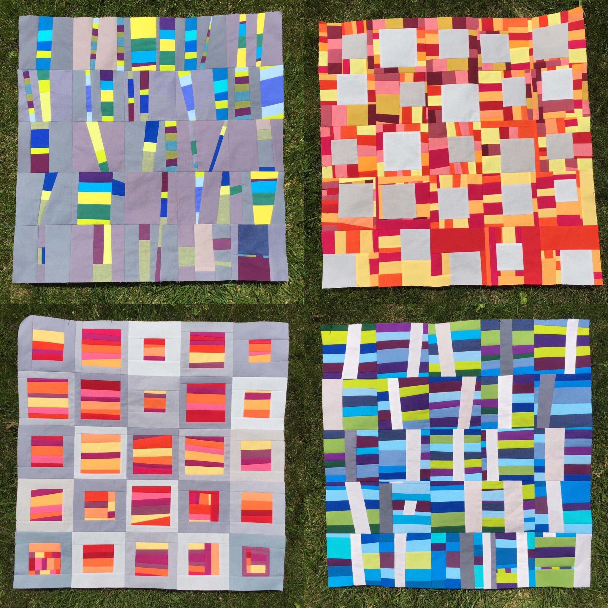 The 100 Day Project of 2017. Four art quilts: Top Line L to R Trees, Windows. Bottom line L to R,Inverse Windows and Inverse Trees