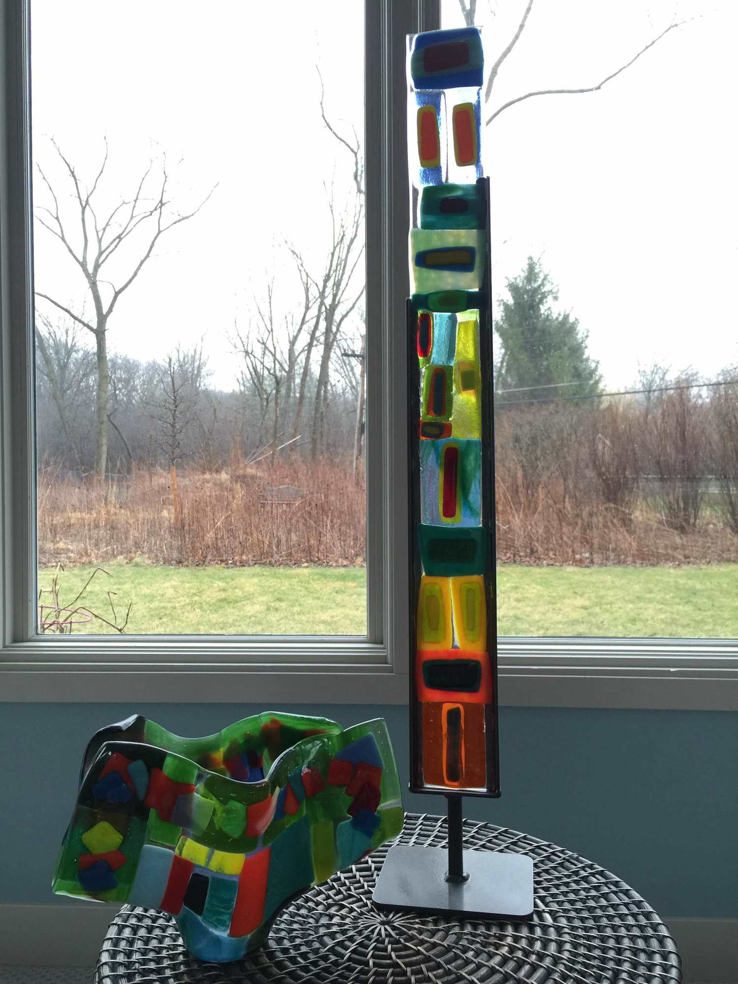 Two pieces of fused glass I have made at Hands On Art Studio over the years.
