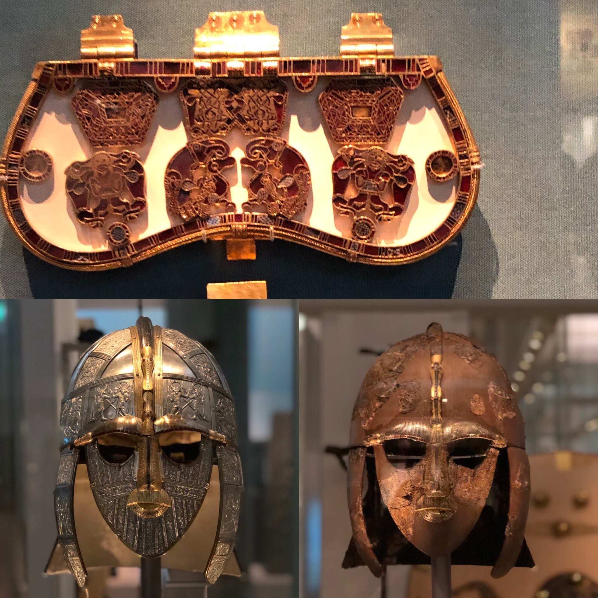 Sutton Hoo ship burial of an Anglo-Saxon grave dated early 600 AD. Purse lid of gold and cloisonne garnets and shiny reconstruction next to original helmet found on the site.
