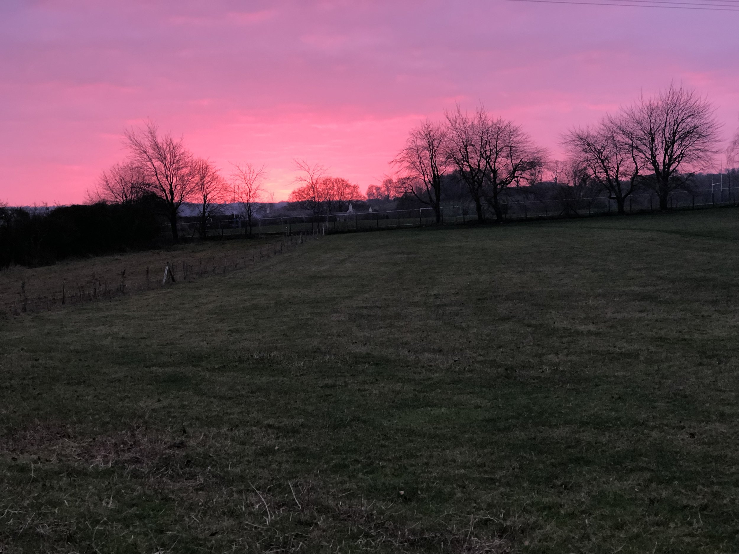 Pink sunset in the Cotswolds, 2018.