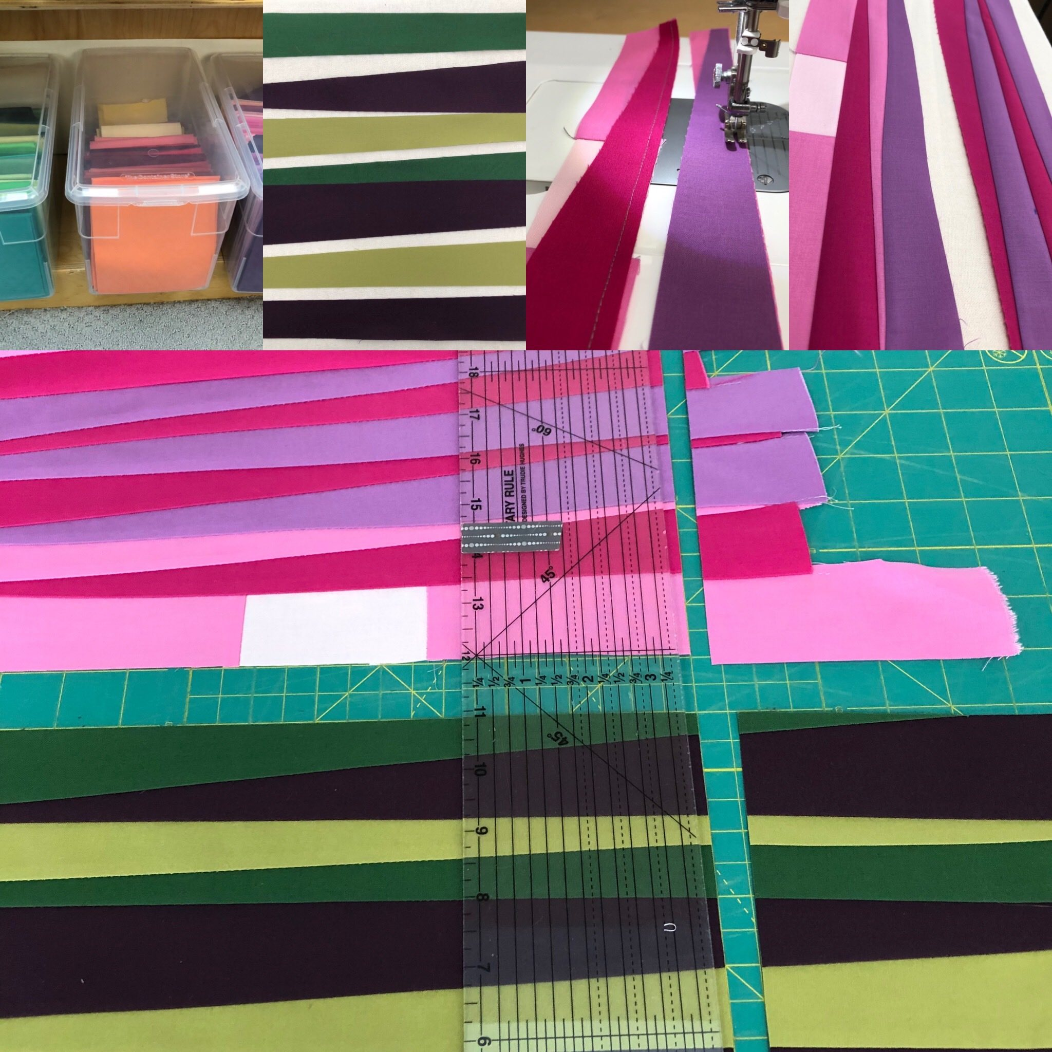 """Upper Left to Right: Fabric bins, Wedges for fields, Sewing wedges together, Sewing groups of wedges together.  Lower section: Sky and land cut to 13"""" and ready to sew together at the horizon."""
