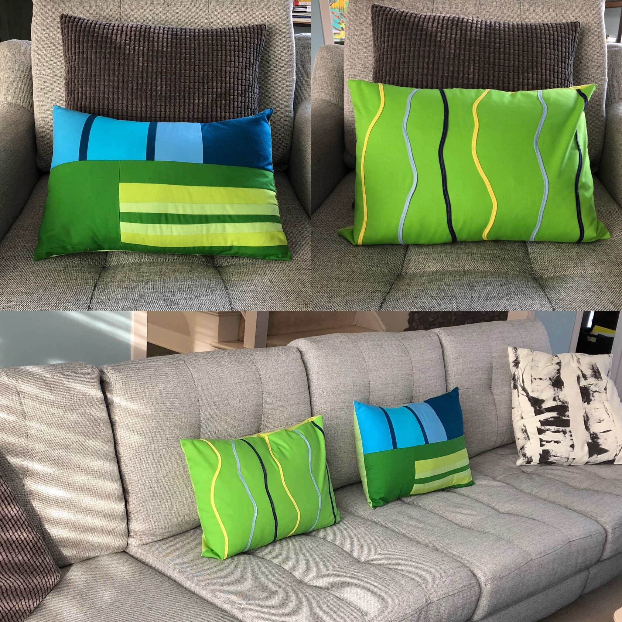 Close up of  Summer Prairie  and  Contours pillows  and shown in place in our new  Burrow couch  (Yes, I ordered it online and love it!)