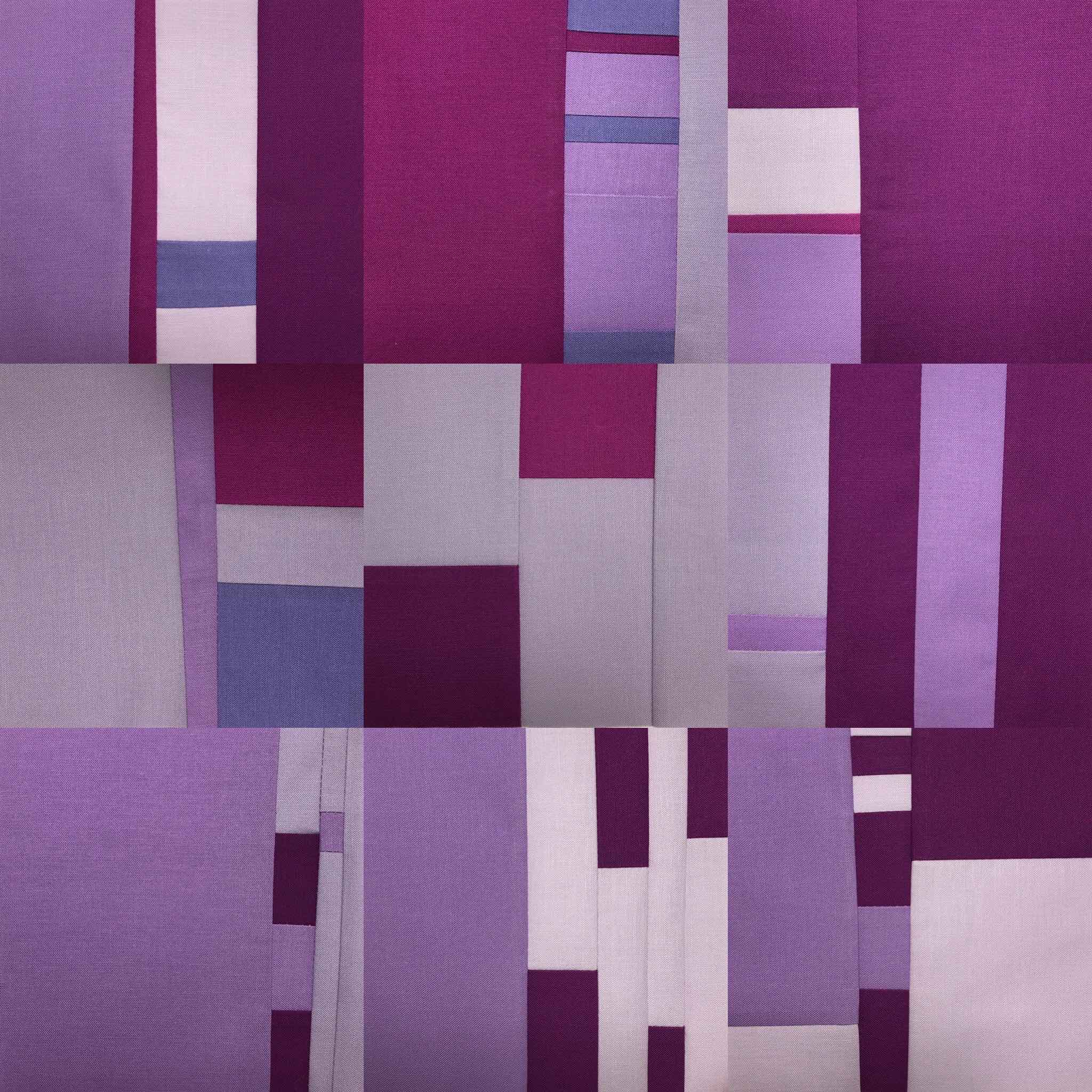 Nine Daily sewn squares of 25 Days of Purple Irises
