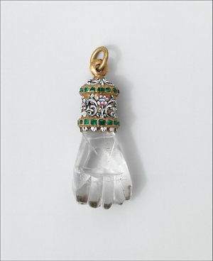 Rock Crystal, gold and emerald Hand Motif pendant, Spain, 17th century. Metropolitan Museum.