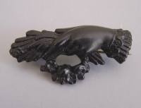 Victorian Vulcanite Hand Motif Brooch (from 'Morning Glory Antiques')