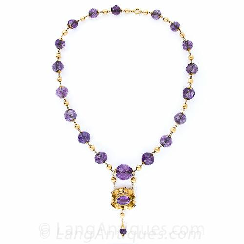 Mid-Victorian Amethyst 18 karat gold necklace   Lang's Antique & Estate Jewelry