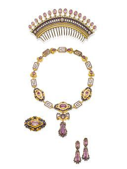 AN ANTIQUE PINK TOPAZ, ENAMEL, DIAMOND AND GOLD PARURE   Comprising: a comb tiara set with a fringe of oval pink topazes to the openwork gold, blue enamel and diamond decoration; a necklace/choker with removeable links supporting a detachable plaque brooch and topaz pendant; a pair of earrings with detachable pendants (may be added to necklace/brooch combination); and a brooch with pendant hoop, all of neo-classical and foliate design, mounted in silver and gold, circa 1840   Christie's Sale 1368