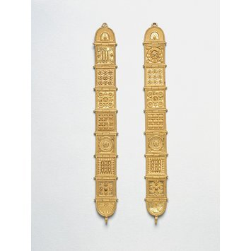 Italy, c. 1860-1880   Gold, hinged panels with applied wire and granulated decoration   Castellini   V&A Museum