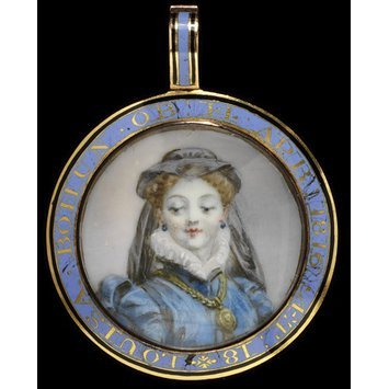 England, c. 1816.   Locket, enameled gold set with a miniature   V&A Museum