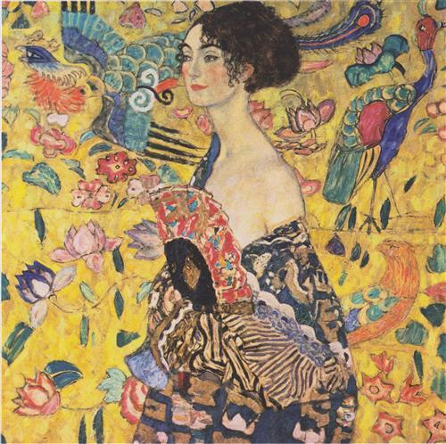 Lady with Fan – Gustav Klimt (1917)