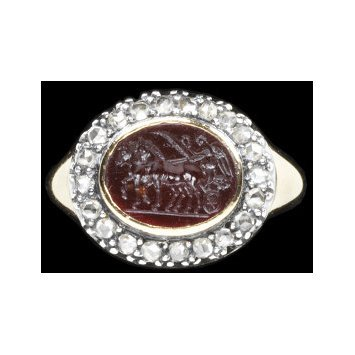 Europe, c. 1810   Ring, gold mounted with rose-cut diamonds set in silver and carnelian intaglio set in gold   V&A Museum