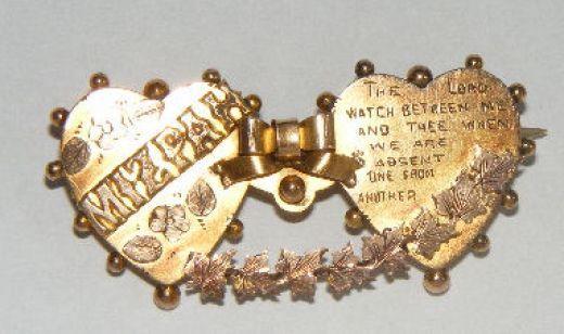 Typical Mizpah brooch in gold