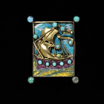 England, c.1903   Brooch, gilded silver, gold, enamel and turquoises   Ashbee   V&A Museum