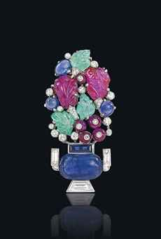 AN ART DECO 'TUTTI FRUTTI' BROOCH, BY CARTIER   Christie's 5968