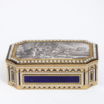 Switzerland, late 18th century. Gold decorated with brown camaieu enamel, surrounded by a border of seed pearls. V&A Museum