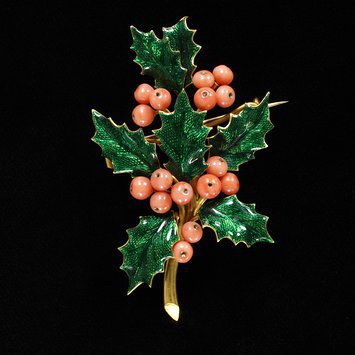 France, c. 1865 Enameled gold and coral brooch V&A Museum