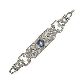 An Art Deco platinum, star sapphire and diamond bracelet Christie's Sale 8127