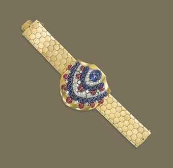 A RETRO SAPPHIRE, RUBY AND DIAMOND CLIP BROOCH/BRACELET Sale 1393