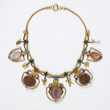 England, c. 1867 Necklace enameled gold, hung with cameos of chalcedony and onyx Firm of John Brogden V&A Museum