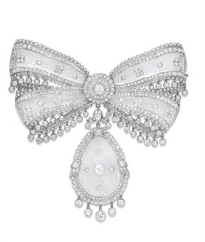 BELLE EPOQUE DIAMOND AND ROCK CRYSTAL BOW BROOCH, BY CARTIER c. 1910 Christie's Sale 2121