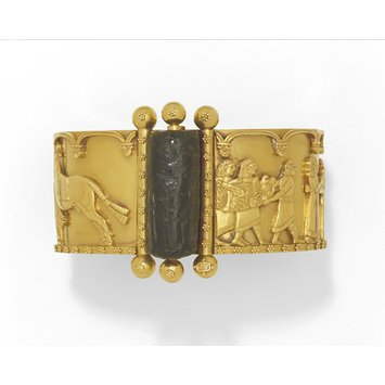 England, c. 1860   Gold bracelet with a steatite cylinder seal   Repousse work