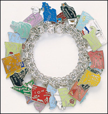 Or they can be themed, for example in the case of this bracelet with USA State symbols.