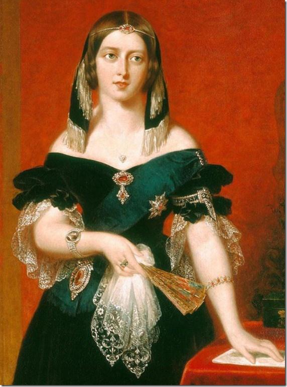 Portrait of Queen Victoria wearing a ferronière.