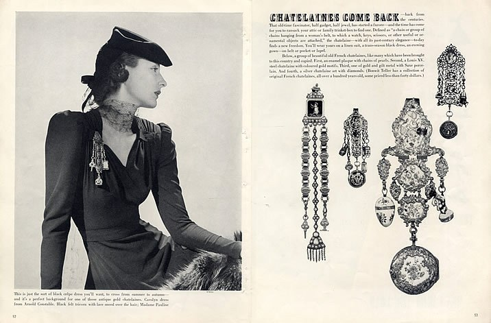 In 1938, there was a brief attempt to bring back the Chatelaine as a brooch.