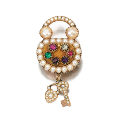Seed pearl and Gem set 'regard' brooch/ pendant, Early 19th Century   Sotheby's Lot 74 The Jewelry Collection of the Late Michael Wellby