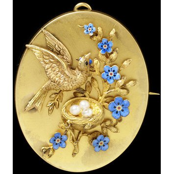 London, c. 1855 -1873 Gold, enamel, pearls and hair compartment in the back.   This sentimental brooch with forget-me-not motif would have had a great deal of meaning for the wearer.   V&A Museum