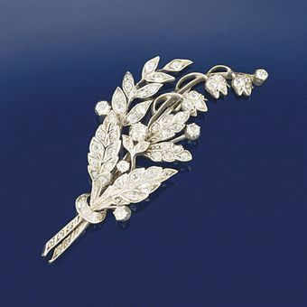A late Victorian diamond spray brooch   Lily of the valley motif   Christie's sale 5896