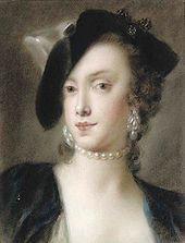 Caterina Sagredo Barbarigo by Rosalba Carriera, cir. 1740. Wearing a single-strand pearl collar and pendant pearl earrings