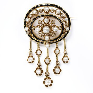 Brooch, openwork gold, enameled in black set with diamonds and pearls, with pearls and diamond pendants   Paris, c. 1860-70   V&A Museum