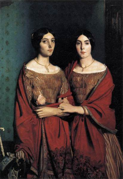 Victorian Sisters. The one on the right is wearing a hair work bracelet on her wrist.