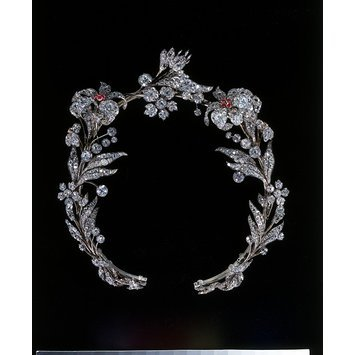 Tiara, brilliant-cut diamond set in silver, with rubies set in gold, and a gold frame   c. 1835, Europe   V&A