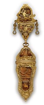 A GEORGE II PINCHBECK-MOUNTED HARDSTONE CHÂTELAINE WITH NÉCESSAIRE   Christie's Sale 7800