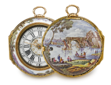 Pinchbeck and enamel watch c. 1740  Sotheby's No8848