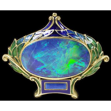 c.1900   Brooch, gold, opal   Marcus & Co   V&A