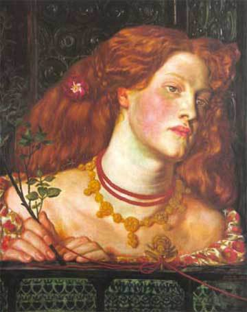 Dante Gabriel Rosetti, Fair Rosamund (1861).© National Museum of Wales.   The necklace she is wearing appears to be Arts & Crafts